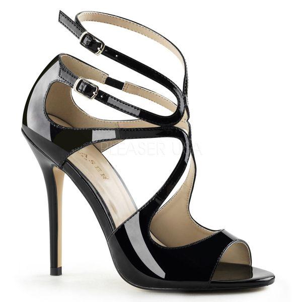 AMUSE-15 High-Heel Sandalette mit Riemchen in schwarz Lack